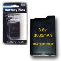 Bateria para Sony PSP 3600 mah -  Batería recambio para  Sony PSP.  Batería de litio 3600mAh. Mismo tamaño que la batería original de Sony pero con un 22% mas de capacidad