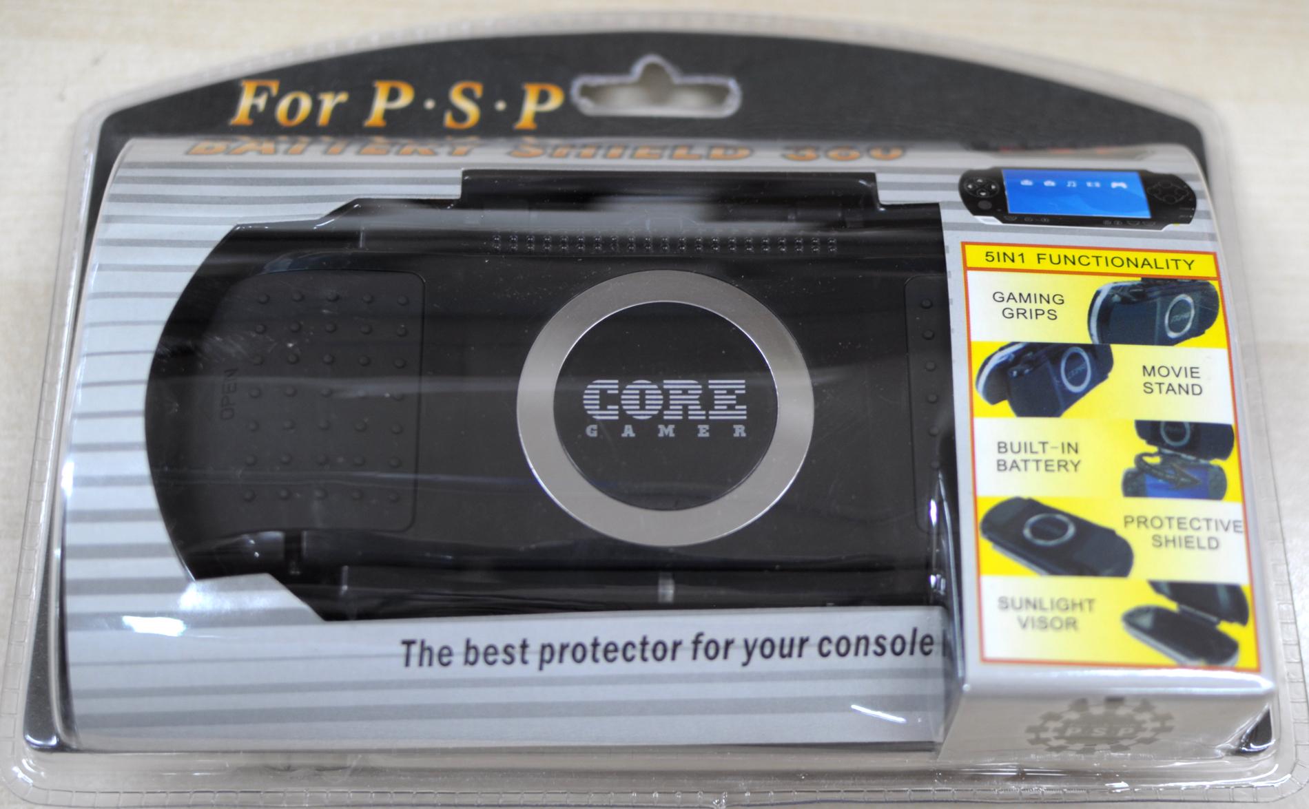 PSP Battery shield 360 - PSP Battery shield 360  5 funciones en 1 solo prodcuto: 1. Protector consola 2. Bateria Litio-Ion 3. Protector solar 4. Movie Stand 5. Game Grips
