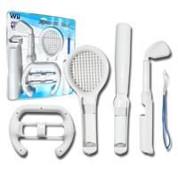 5 EN 1 SPORTS PACK PARA NINTENDO WII - Incluye volante, bate de baseball, palo de golf, raqueta y correa para el wiimote. Diseñados para una fijacción fácil y rápida del mando inalámbrico de Wii. Ideal para 'Wii™ Sports'.