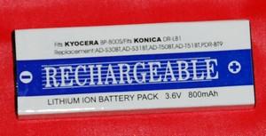 Batería compatible  KYOCERA BP800S  y KONICA DR-LB1 - Batería compatible KYOCERA BP800S  y KONICA DR-LB1