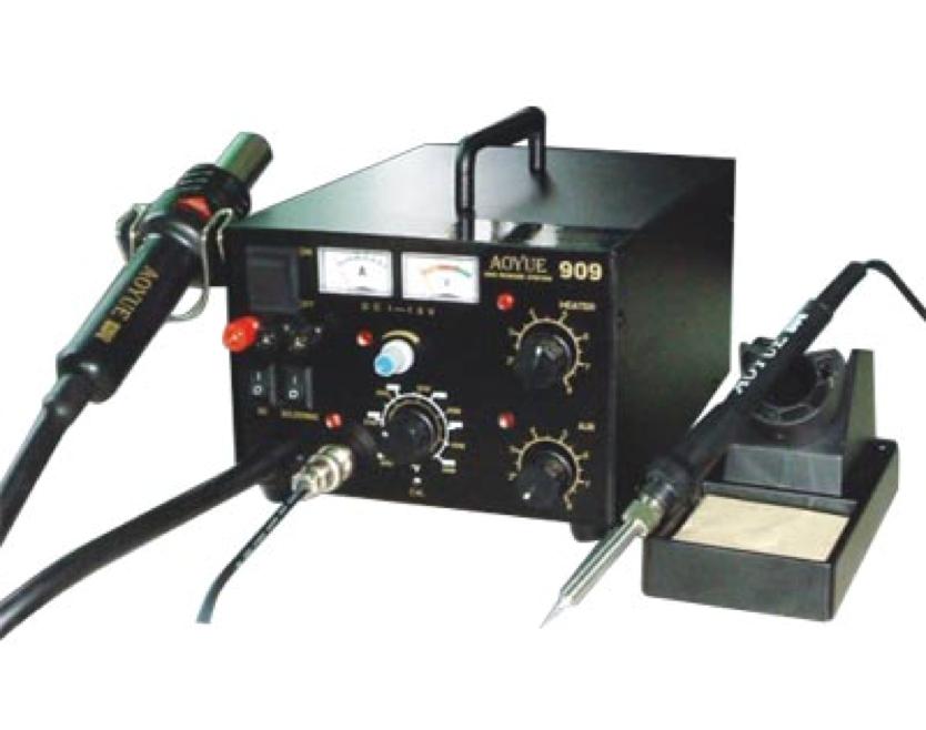 Estación de soldadura AOYUE 909 - Estación completa para soldar y desoldar componentes en cualquier formato, SMD o DIP. Incluye fuente de alimentación y adaptador para algunos telefonos moviles