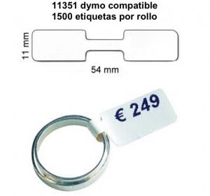 Rollo de 1500 Etiquetas Adhesivas tamaño 54*11MM*1500 Unidades compatible Dymo11351 - Rollo de 1500 etiquetas adhesivas profesionales, hechas con papel de primera calidad. Especificamente diseñadas para el sistema de impresión termal directo Dymo.