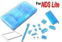 Carcasa Recambio para Nintendo DS Lite (Color Azul Transparente) - Carcasa de repuesto para NDS  Lite. Con todo lo necesario para la sustitucion completa de carcasa y botones. Incluye tornilleria, tacos de goma y pegatinas.
