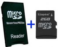MS Pro Duo Adapter + MicroSD 2GB - Adaptador a MS Pro Duo + MicroSD 2GB