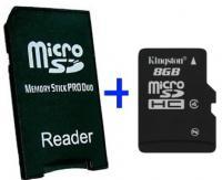 MS Pro Duo Adapter + MicroSD 8GB - Adaptador a MS Pro Duo + MicroSD 8GB *La PSP requiere la utilización del firmware 2.81 para soportar memorias superiores a 4Gb, siempre verifique el máximo de memoria soportada por su dispositivo antes de efectuar su compra.