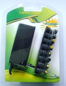 CARGADOR  UNIVERSAL  MINI-PORTATILES 40W - Adaptador de corriente 40W AC/DC para mini-portatiles con seleccion automatica de voltaje Adaptador de  corriente delgado, ligero y compatible prácticamente con todos los mini-portatiles.