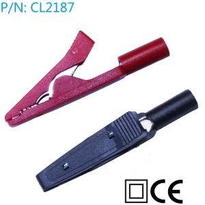 CL2187  Pinzas cocodrilo con conexion banana 2mm pack 2 ud rojo-negro - CL2187  Pinzas cocodrilo con conexion cables test multimetro con conector 2mm pack 2 ud rojo-negro