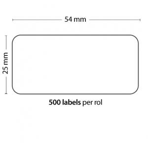 Rollo de 500 Etiquetas Adhesivas tamaño 54mm*25mm*500 Unidades compatible Dymo11352 - Rollo de 500 etiquetas adhesivas profesionales, hechas con papel de primera calidad. Especificamente diseñadas para el sistema de impresión termal directo Dymo.