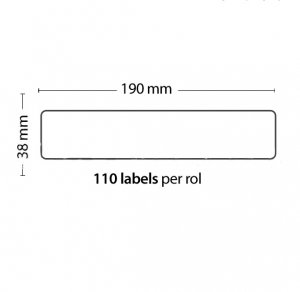 Rollo de 110 Etiquetas Adhesivas tamaño 190mm*38mm*110 Unidades compatible Dymo99018 - Rollo de 110 etiquetas adhesivas profesionales, hechas con papel de primera calidad. Especificamente diseñadas para el sistema de impresión termal directo Dymo.