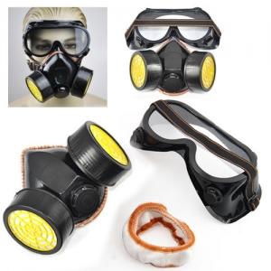 Máscara Respiración Doble Cartucho con Gafas Kit Pintura Anti Gases - Máscara Respiración Doble Cartucho con Gafas Kit Pintura Anti Gases