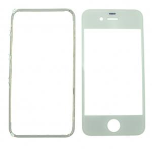 Pantalla de Cristal Iphone 4S  BLANCO + Marco adhesivo - Pantalla de Cristal Iphone 4S  BLANCO + Marco adhesivo