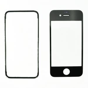 Pantalla de Cristal Iphone 4S  NEGRA + Marco adhesivo - Pantalla de Cristal Iphone 4S  NEGRA + Marco adhesivo