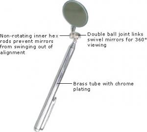 Espejo de Inspección  telescópico y giratorio 360º  - Espejo de Inspección  telescópico y giratorio 360º  Extensible hasta 50 cm, y giratorio 360º para que veas donde no puedes llegar. Espejo de 32mm, tamaño plegado 17cm.