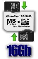 Pack Adaptador 2xMicroSDHC a MS Pro Duo  16GB  - Este se compone por el adaptador Photofast CR-5400 y dos memorias  MicrosdHC de 8gb para poder tener en tu PSP una capacidad de 16GB!!!.