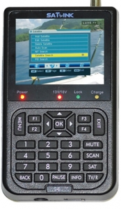 """MEDIDOR DE SATELITE  SATLINK WS-6906 - MEDIDOR DE SATELITE  SATLINK WS-6906 Localizador de satélite móvil con satélites preprogramados Búsqueda automática y manual de programas DVB-S FTA Recepción y reproducción de programas DVB-S FTA con sonido e imagen Pantalla de color TFT LCD de 3,5"""" (8,9 cm)"""