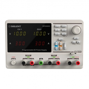 Siglent SPD3303C 0-30V Fuente laboratorio triple salida programable con conexion PC - The Siglent SPD3303C Programmable DC Power Supply is a convenient, flexible and multi-function DC Power Supply. It has three independent outputs, two sets of adjustable voltage values and a fixed set of selectable voltage values of 2.5V, 3.3V, and 5V ,and it also provides output short circuit and overload protection at the same time.