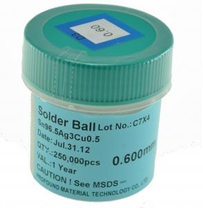 Bote bolas estaño SIN PLOMO 0,55mm 250.000 ud - Bote bolas estaño sin plomo 0,55mm 250.000 ud. Producto para reballing BGA