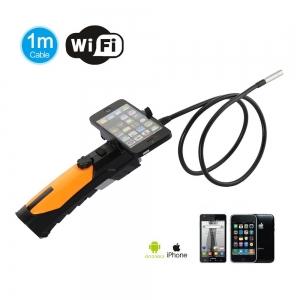 Cámara HD inspección WIFI endoscopio portátil para iPhone, iPad, Android Smartphones.  - Endoscopio de inspeccion flexible de 7mm y 1 metro largo con luz led, sumergible