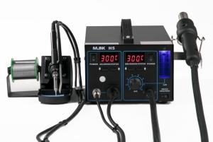 Estación 2 en 1 soldadura Aire Caliente  y Soldador MLINK H5 - Estación 2 en 1 soldadura Aire Caliente  y Soldador MLINK H5 Estacion aire caliente regulable de 100º a 480º con 700W de potencia, generacion de flujo de aire por bomba de membrana y caudalimetro. Soldador de 60w regulable de 200º a 480º con absorbedor de Humos. Control digital de temperatura tanto del soldador como del aire caliente y potenciometro con caudalimetro, para regular el flujo de aire de forma mas precisa.