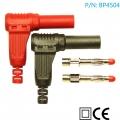 BP4504 Conector banana macho 4mm 90º (incluye 1 rojo y 1 negro) - BP4504 Conector banana macho 4mm (incluye 1 rojo y 1 negro), para fabricar tus propios cables.