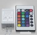 Controlador Tira LED RGB, Dimmer por Control Remoto IR 24 Botones - Controlador para tira LED RGB que cuenta con varios modos de luz modificados por intensidad, color y velocidad. Además, también cuenta con modos de color programados y modos personalizados. El producto incluye mando a distancia por IR de 24 botones y con 6 metros de alcance.
