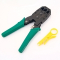 WJ-315 4P 6P 8P Multifunctional Crystal Plug Wire Crimping Pliers Green - Alicate autoajustable cortador y pelador de cables