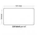 Rollo de 220 Etiquetas Adhesivas tamaño 101*54*220 Unidades compatible Dymo99014 - Rollo de 220 etiquetas adhesivas profesionales, hechas con papel de primera calidad. Especificamente diseñadas para el sistema de impresión termal directo Dymo.