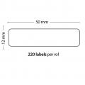 Rollo de 220 Etiquetas Adhesivas tamaño 50*12MM*1500 Unidades compatible Dymo99017 - Rollo de 220 etiquetas adhesivas profesionales, hechas con papel de primera calidad. Especificamente diseñadas para el sistema de impresión termal directo Dymo.