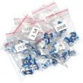 Pack 65 potenciometros lineal DIP, 13 valores diferentes, 5 de cada valor de 100 ohm  a 1 Mohm - Pack 65 potenciometros de ajuste montaje DIP, 13 valores diferentes, 5 de cada valor de 100 ohm  a 1 Mohm En bolsas individules con cierre y rotuladas. Pack de potenciometros para montaje dip, de los valores mas usados.