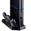 4 en 1 soporte vertical PS4, 3 puertos adicionales USB y ventilador enfriador y cargador 2 mandos -  4 en 1 soporte vertical PS4, 3 puertos adicionales USB y ventilador enfriador y cargador 2 mandos
