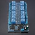 Kit 16 Reles  16-Canales 12V para Arduino[Compatible Arduino] - Esta es una tarjeta con 16 reles a 12v para todo tipo de aplicaciones y puede ser controlada directamente por micro-controlador (Raspberry Pi, Arduino, 8051, AVR, PIC, DSP, ARM, ARM, MSP430, etc..)