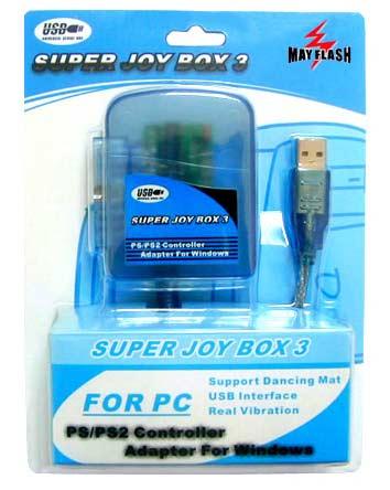 Super Joy Box PRO 3[PS2-->PC] - Conecta 1 pad de Playstation a tu PC a través de un sólo puerto USB.  Compatible con mandos de Playstation 1 o 2, oficiales o compatibles.  Soporte analógico y vibración.  Compatible con Win98, ME, 2000 y XP.
