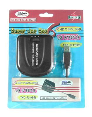 Super Joybox 6 [PC->PC] - Adaptador de mandos de 15 pines (puerto de juegos) a USB. Recupera tus viejos mandos de PC y úsalos de nuevo a través del puerto USB. Compatible con mandos, joysticks, volantes, etc... Soporta modos analógico y digital.